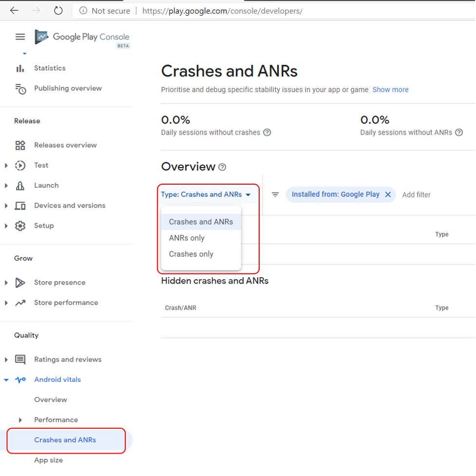 Crashes and ANRs tab in Google Play Console