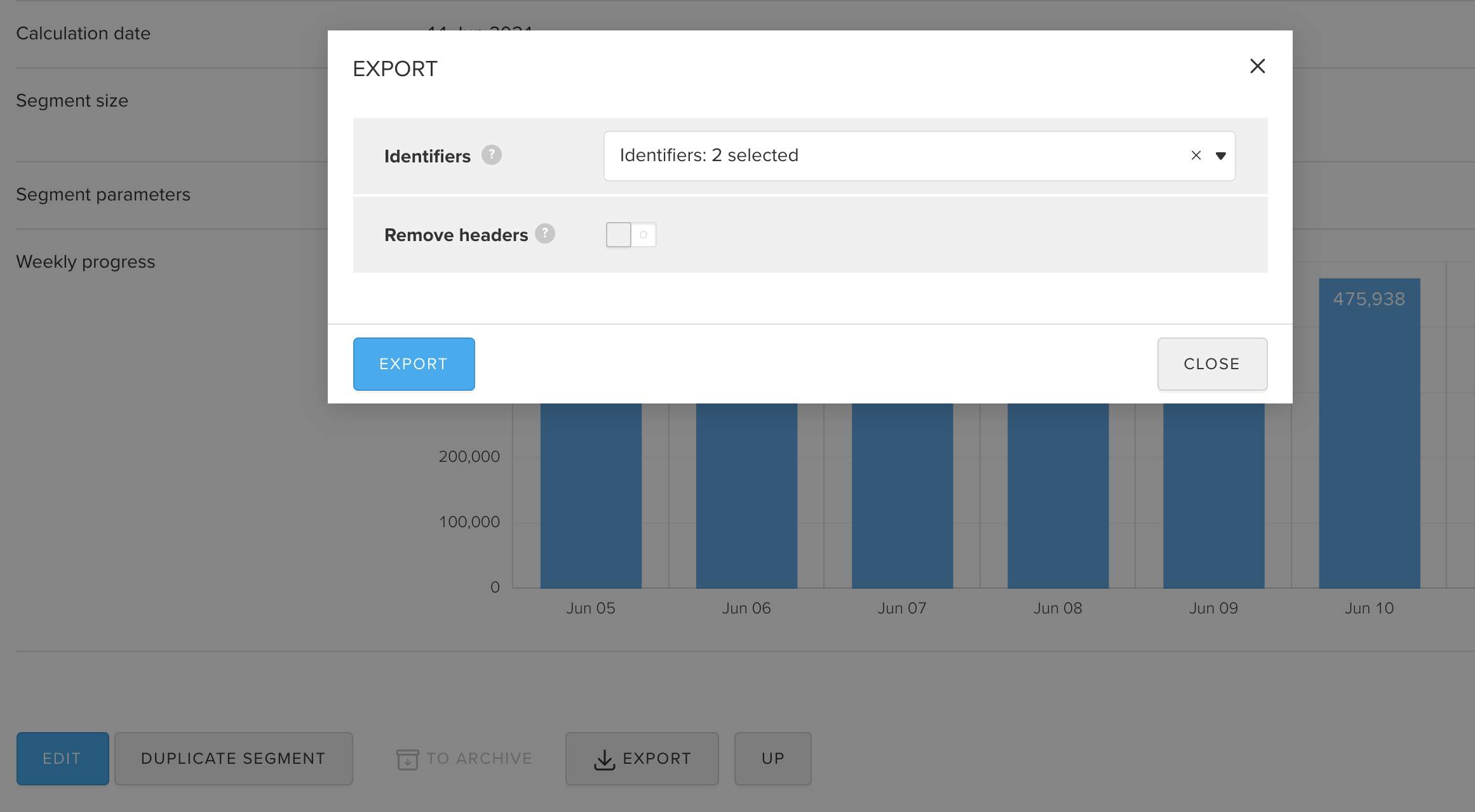 download audience segments in myTracker