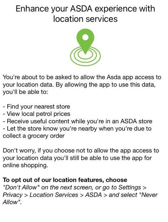 ASDA pre-permission screen